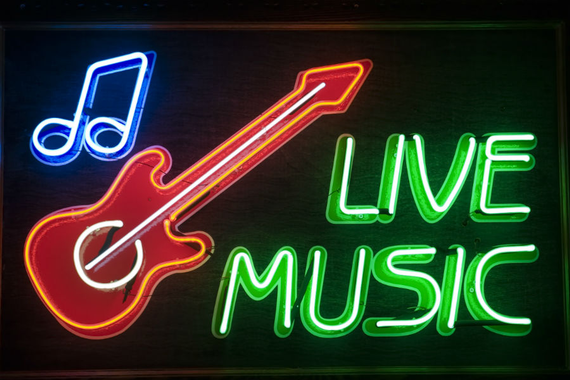 Live music neon sign b