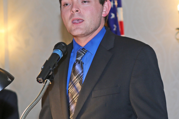 Pennsylvania Health Department Director of Emergency Services Dylan Ferguson greets the guests at the Chester County EMS Awards Dinner on May 23.