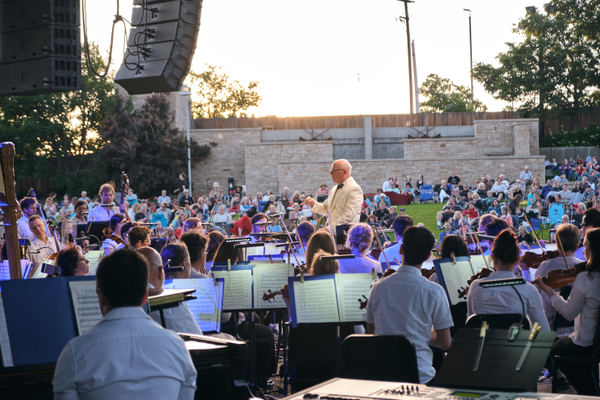 Conductor Michael Krajewski leads the Utah Symphony in their Patriotic Celebration concert at Red Butte Garden. (Jordan Hafford/City Journals)