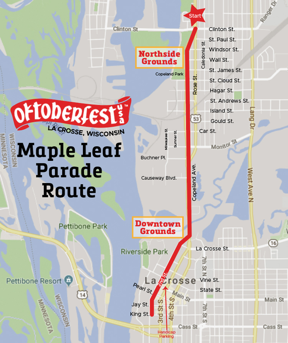 Maple leaf parade route2