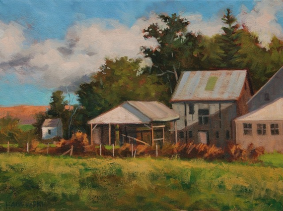 Farm buildings in sunlight oil on canvas 9 x 12 inches