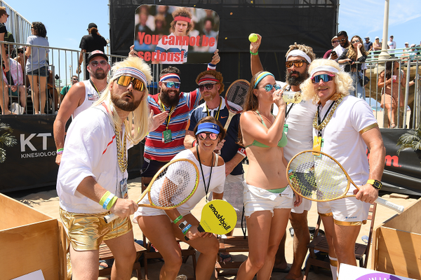 "AVP fan crew ""The Wannabees"" display their dedication to the ""Wimbledon"" of beach volleyball at the Gold Series // Manhattan Beach Open. Photo Credit: Robert Beck / AVP"
