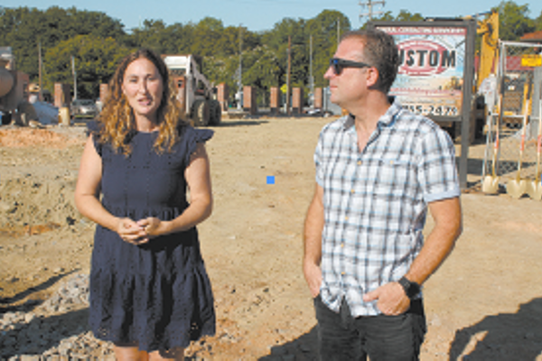 North Main Station developers Talia Simons and Steve Pepitone at the groundbreaking.