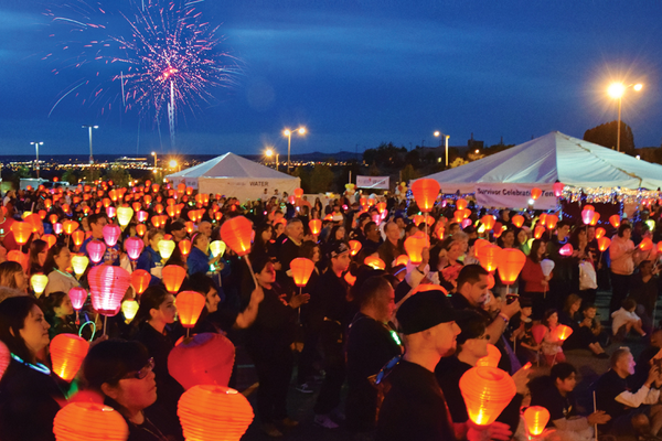 Multicolored paper lanterns carried by cancer survivors, caregivers, friends, family and supporters exemplify the Oct. 12 Light the Night fundraising walk to be held at downtown's Library Square. (Leukemia and Lymphoma Society)