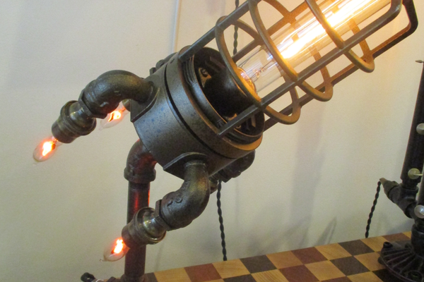 A rocket light made of repurposed materials by Dan Meixell.