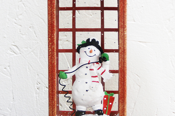 LED Vintage Snowman Phone Booth Snow Globe