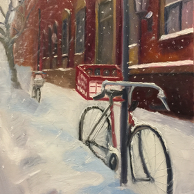 Bicycle 20in 20snow 20with 20red 20carton 20oc 2011x14 20385