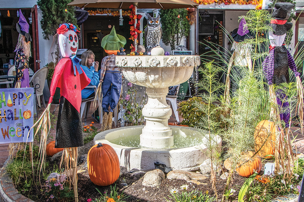 The fountain, dressed up for Halloween.