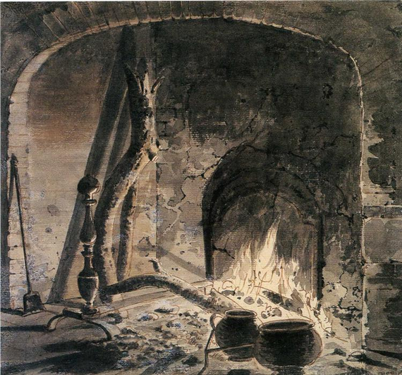 An open hearth with a fire 20joseph 20wright 20of 20derby 20c1770