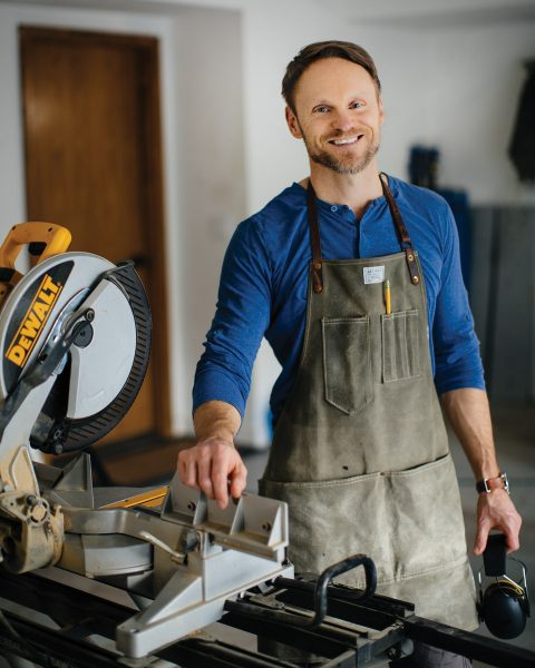 Guy Gibson with woodworking equipment