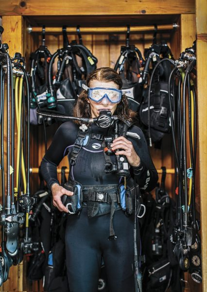 Shirley Ortman in full scuba gear