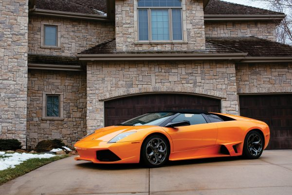 Sean Glassman's Lamborghini Murcielago in front of garage door