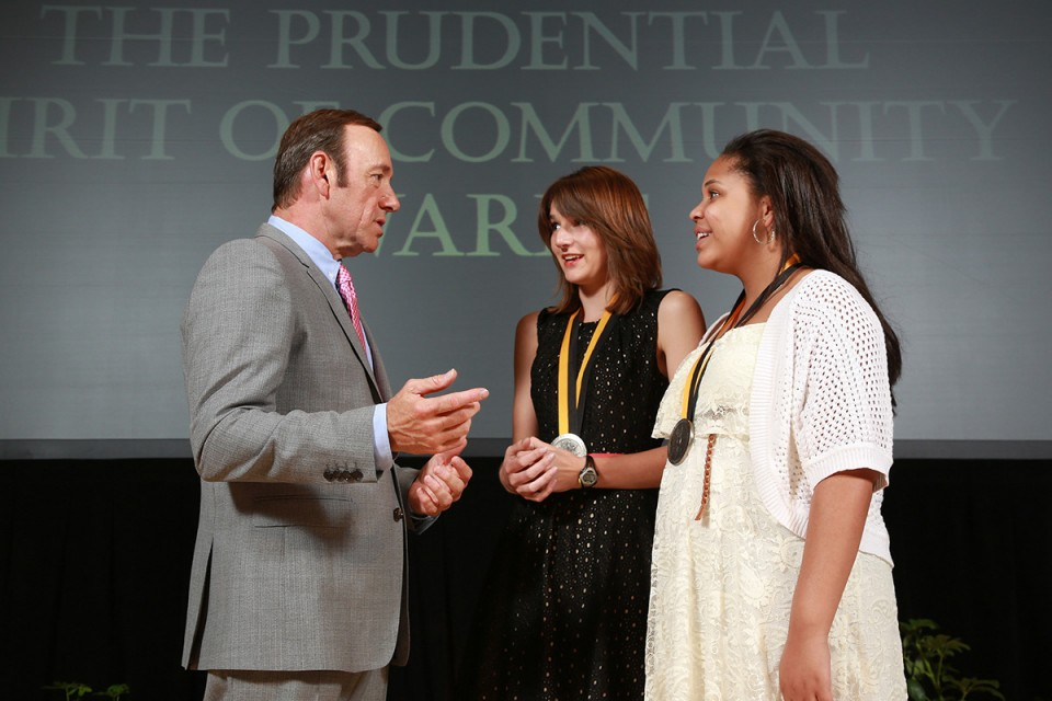 Allie Baxter meeting actor Kevin Spacey at the Smithsonian's National Museum of Natural History in May.