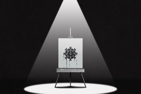 spotlight on lone easel, black and white