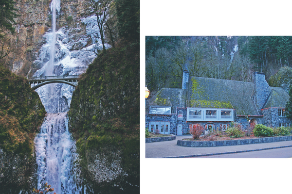Wintery Multnomah Falls and the Multnomah Falls Lodge