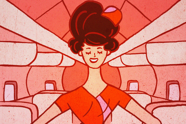 red/pink illustration, old-school airline hostess