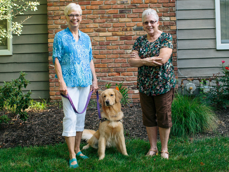 Nancy Ethington and Pam Egger, golden retriever Gracie