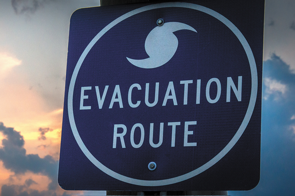 Evacuation route for weather disaster