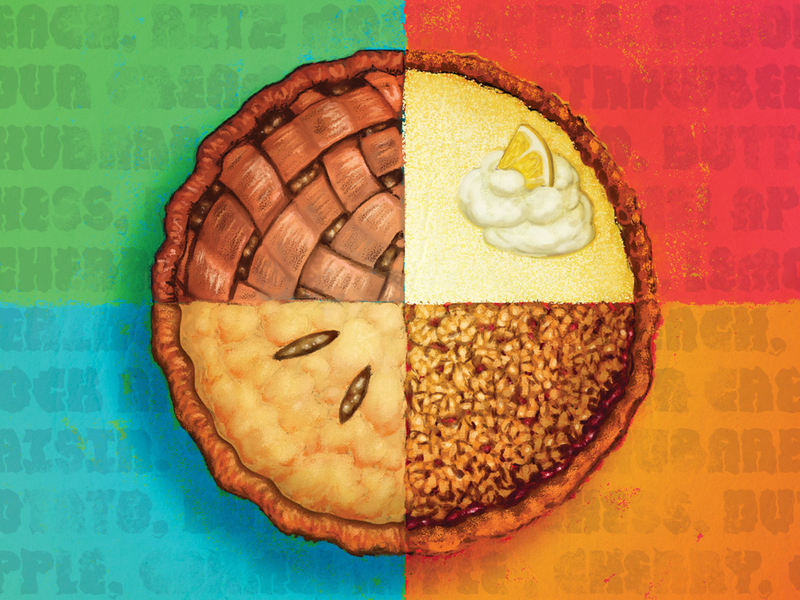 cartoon pie on colorful background