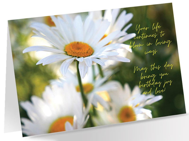 Image of birthday card with multiple white daisies, including a small inscription