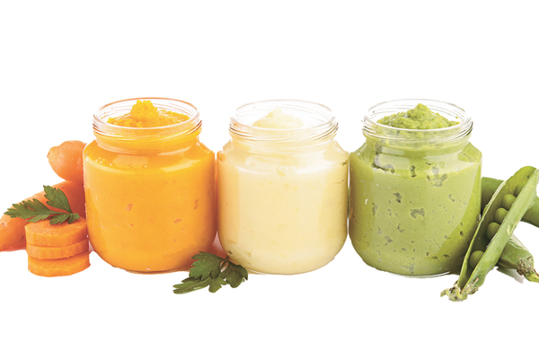 Jars of healthy baby food free of metal toxins