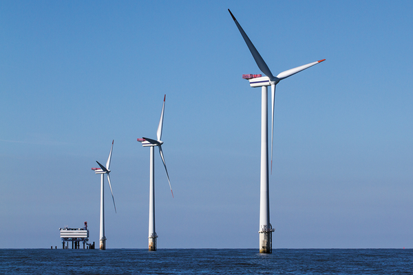 Wind turbines in water off coast