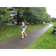 Hannah Lewis heads to the finish line of the Tewksbury Memorial Day 5K Fun Run.