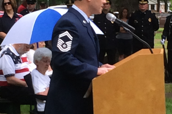 Senior Master Sgt. Stephen Voto speaks at the Tewksbury Memorial Day Ceremony.