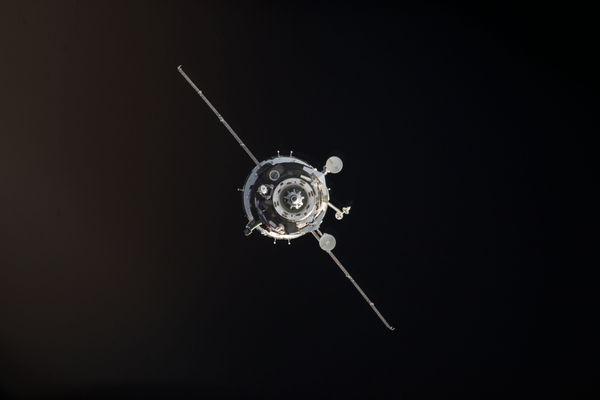 The Soyuz TMA-12M spacecraft shortly before the docking of the two orbiting vehicles. (#21)