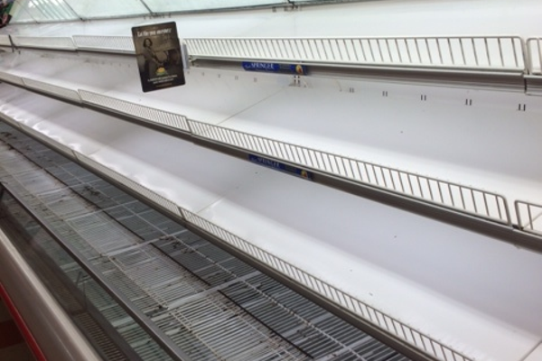 Many shelves at Market Basket supermarkets are bare, since workers walked out over the firing of CEO Arthur T. DeMoulas.