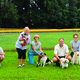 Tracy Antozzeski Shirley Chant Linda Haun Bill Popko Jill Popko and Barbara Ring Eget pose with their dogs at Northern Community Park