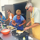 Hard at work at the pancake breakfast in June.