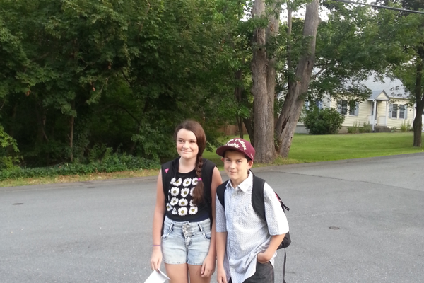 Nick Noke and his neighbor Isabella are all set for the first day of a new school year.